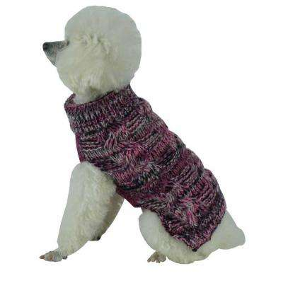 Medium Pink and Black and Grey Royal Bark Heavy Cable Knitted Designer Fashion Dog Sweater