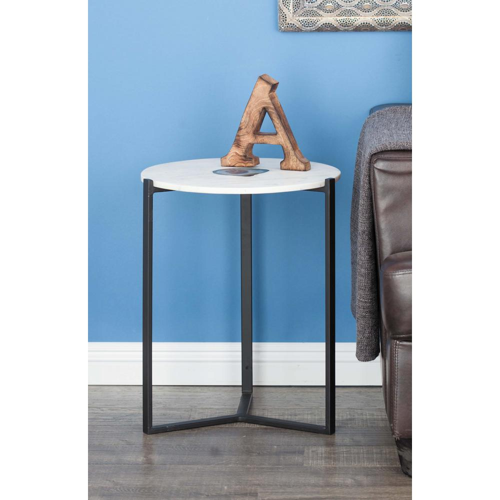 21 in. x 17 in. Modern Iron and Blue Agate Round Accent Table-42225 ...
