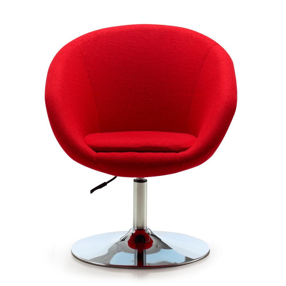 Red Wool Blend Hopper Swivel Adjustable Height Chair