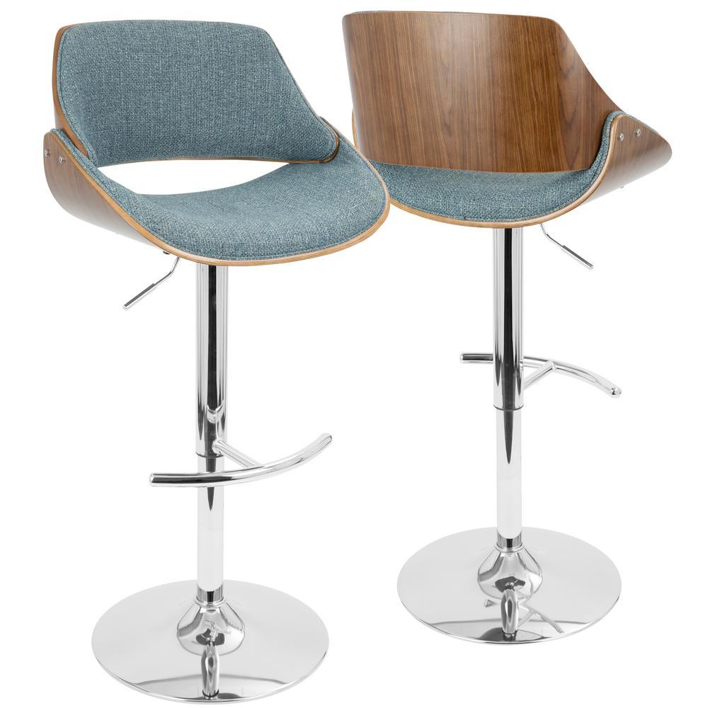 Surprising Lumisource Fabrizzi Walnut And Blue Adjustable Barstool Bs Evergreenethics Interior Chair Design Evergreenethicsorg