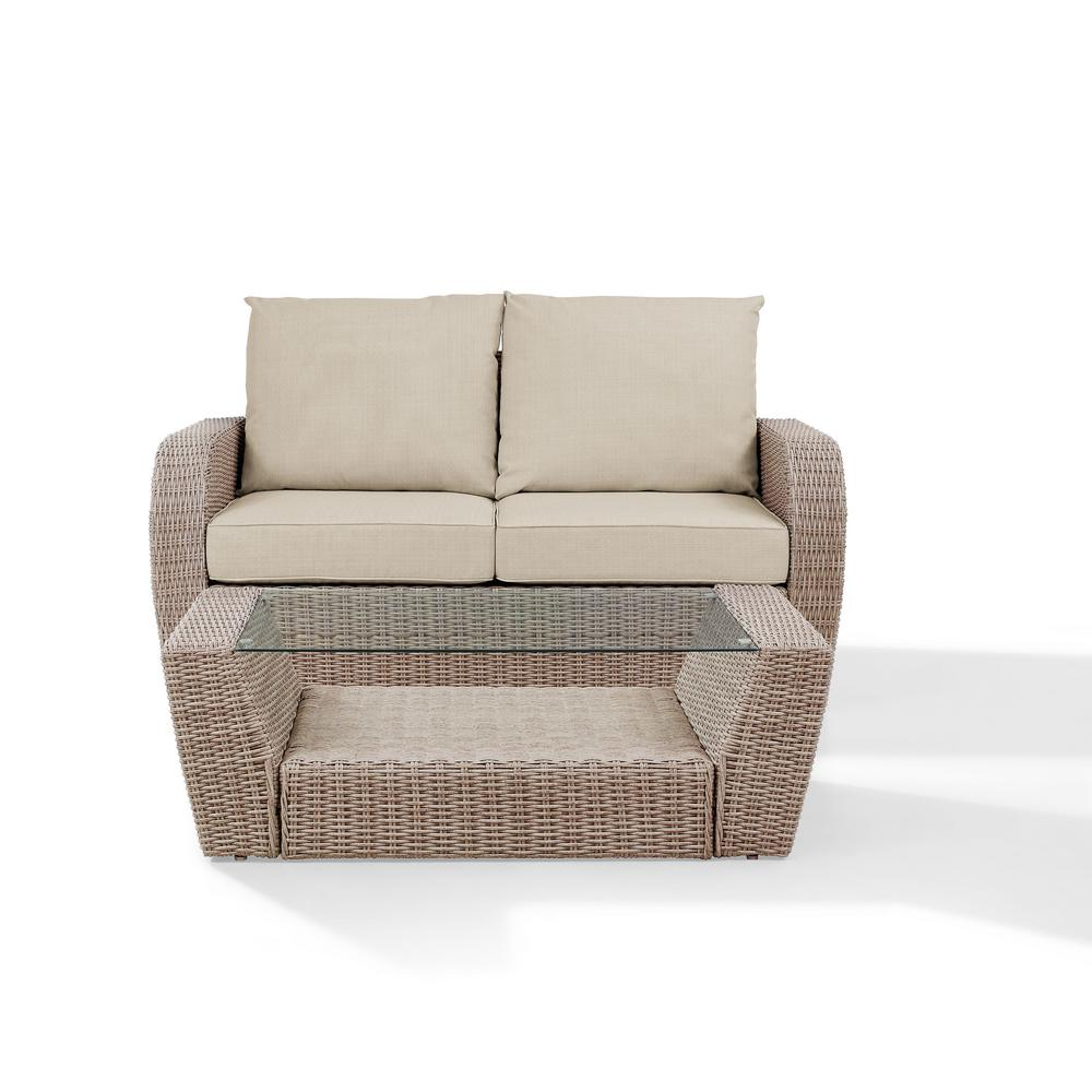 Crosley St Augustine 2-Piece Wicker Patio Outdoor Seating Set with Oatmeal Cushion - Loveseat, Coffee Table was $631.86 now $491.86 (22.0% off)