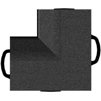 TechFloor Inside Corners in Black Vinyl Floor Liner (4-Pack)