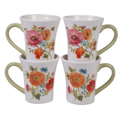 Country Fresh 4-Piece Country/Cottage Multi-Colored Ceramic 14 oz. Mug Set (Service for 4)