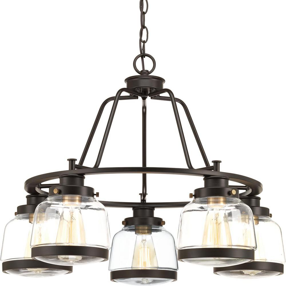 Progress Lighting Judson Collection 5 Light Antique Bronze Chandelier With Shade