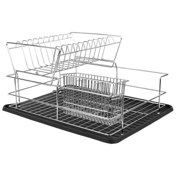 21a7dc03242b Home Basics Deluxe 2-Tier Black Dish Rack DD41799 - The Home Depot