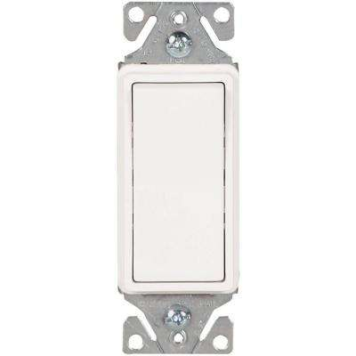 15 Amp 120-Volt/277-Volt Heavy-Duty Grade 3-Way Decorator Lighted Rocker Switch with Back and Push Wire in White