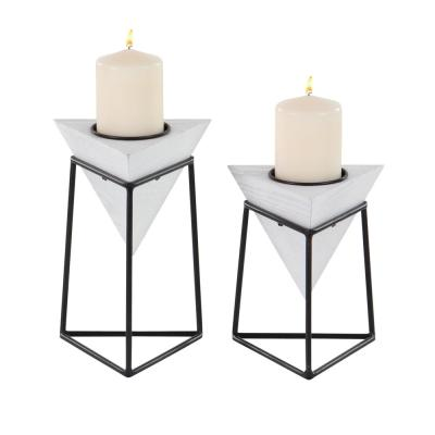 CosmoLiving by Cosmopolitan White Wood and Iron Candle Holders with Black Stands (Set of 2)