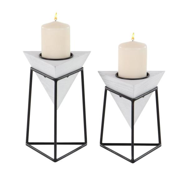 CosmoLiving by Cosmopolitan White Wood and Iron Candle Holders with Black