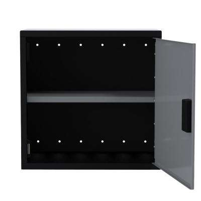 24 in. H x 25 in. W x 12 in. D Wall Cabinet 1-Door with 1-Adjustable Shelf in Black/Silver