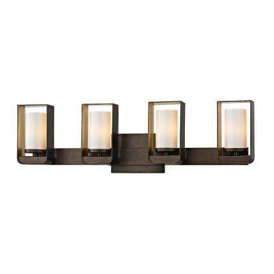 Escape 4-Light Bronze 27 in. W LED Bath Light with Gold Leaf Accents and Gloss Opal Glass Shade