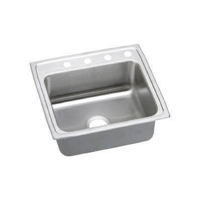 Lustertone Drop-In Stainless Steel 25 in. 4-Hole Single Bowl Kitchen Sink