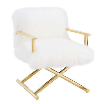 Jodi White and Gold Sheepskin Chair