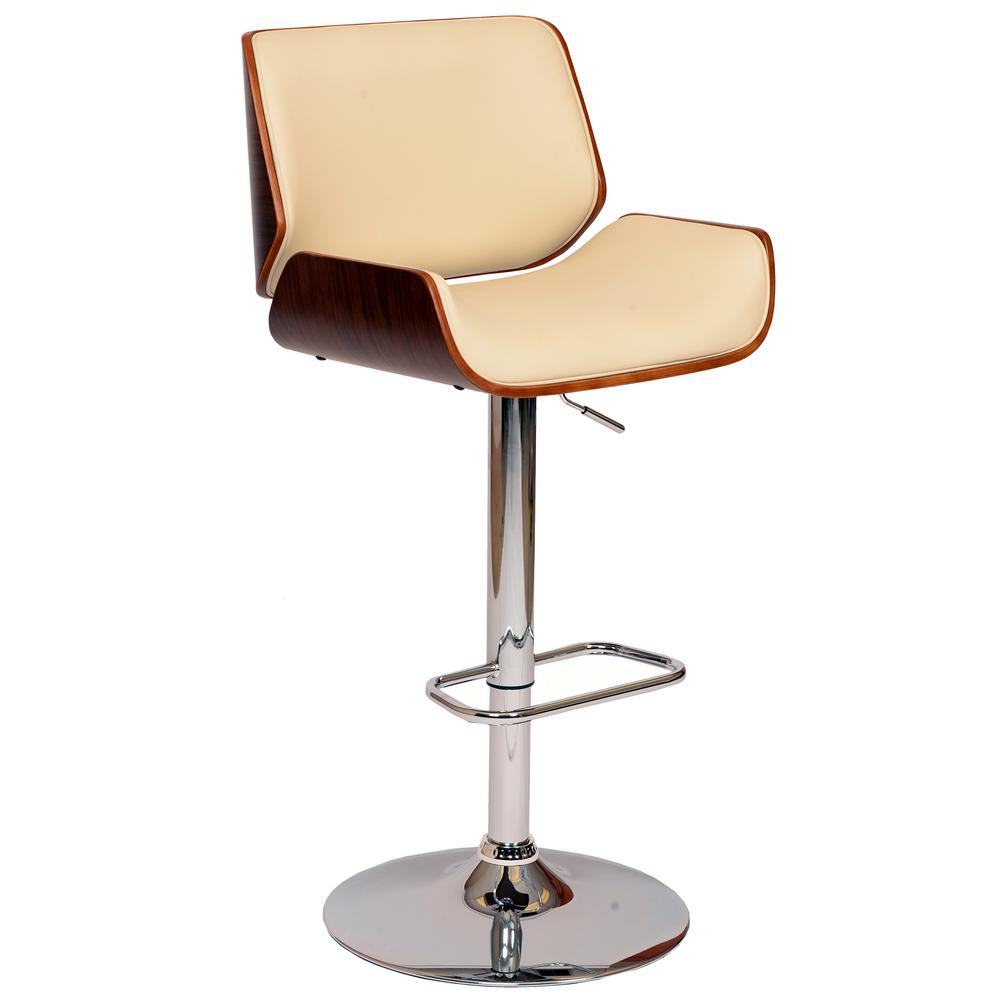 Armen Living London 37 46 In. Cream Faux Leather And Chrome Finish Swivel  Barstool
