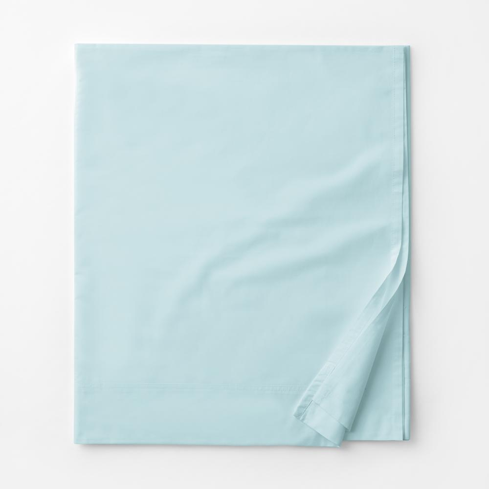 Company Cotton Sky Blue Solid 300 Thread Count Percale Queen Flat Sheet