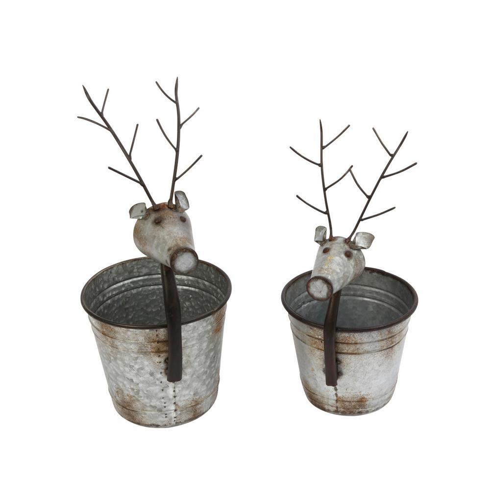 S/2 18.5 in. H Rustic Metal Deer Containers