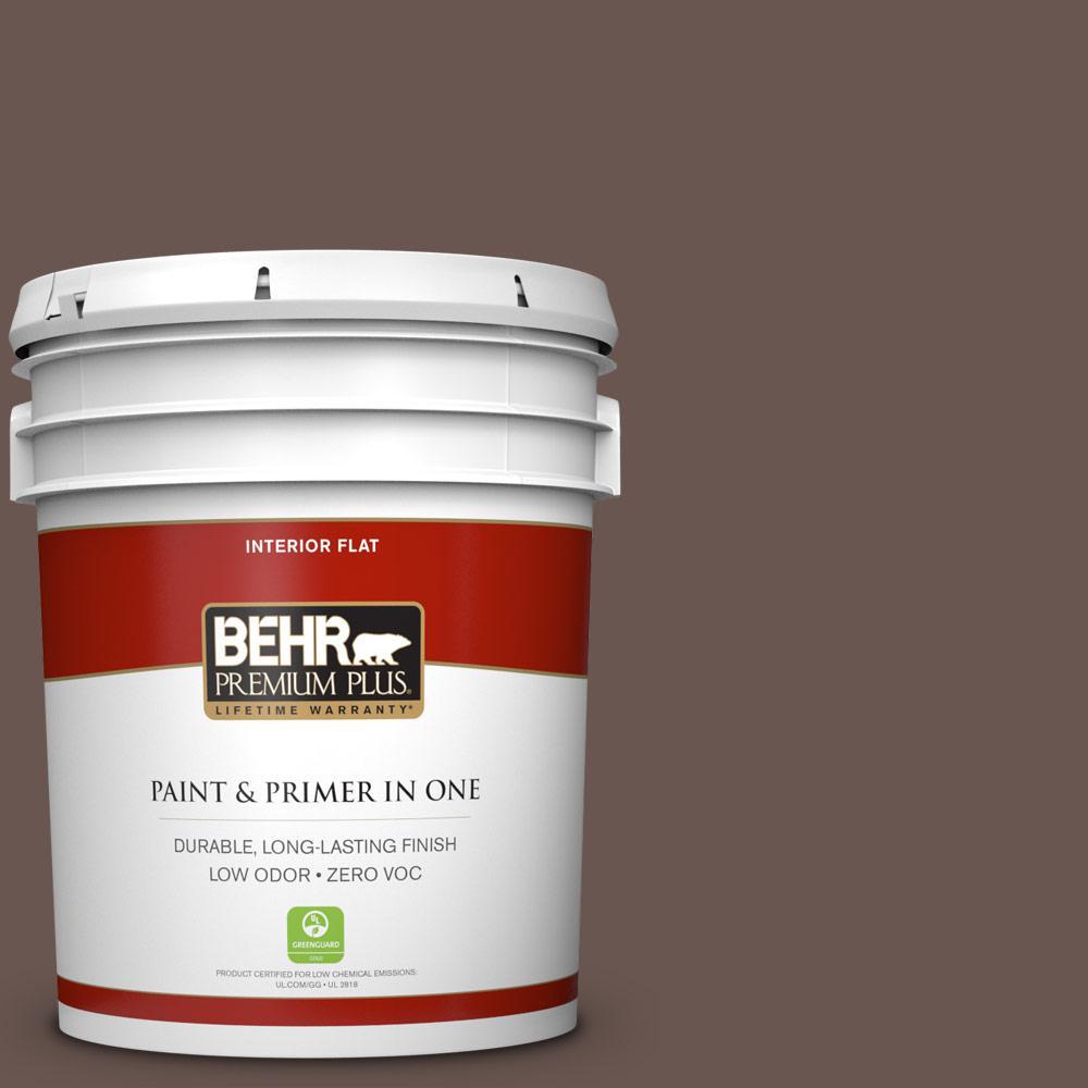 5 gal. #N180-7 Oiled Teak Zero VOC Flat Interior Paint