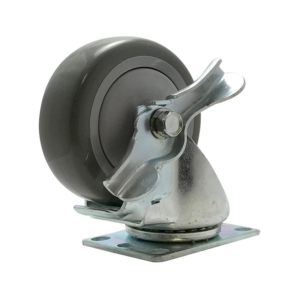 4 in. Polyurethane Swivel Plate Caster With Brake with 375 lbs.