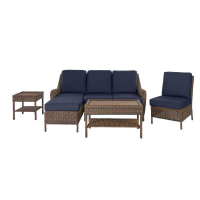 Cambridge 5-Piece Brown Wicker Outdoor Patio Sectional Sofa Seating Set with CushionGuard Midnight Navy Blue Cushions
