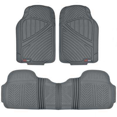 FlexTough MT-773 Gray Heavy Duty 3 Piece All Weather Rubber Car Floor Mats