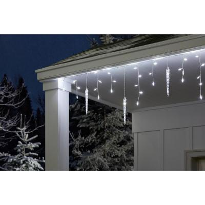 75-Light White Shooting Star Icicle LED String Light with Cascading Lights