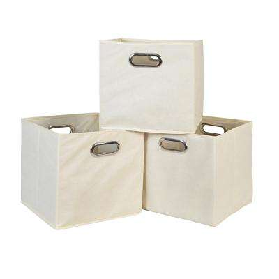 Cubo 12 in. x 12 in. Natural Foldable Fabric Bin (3-Pack)