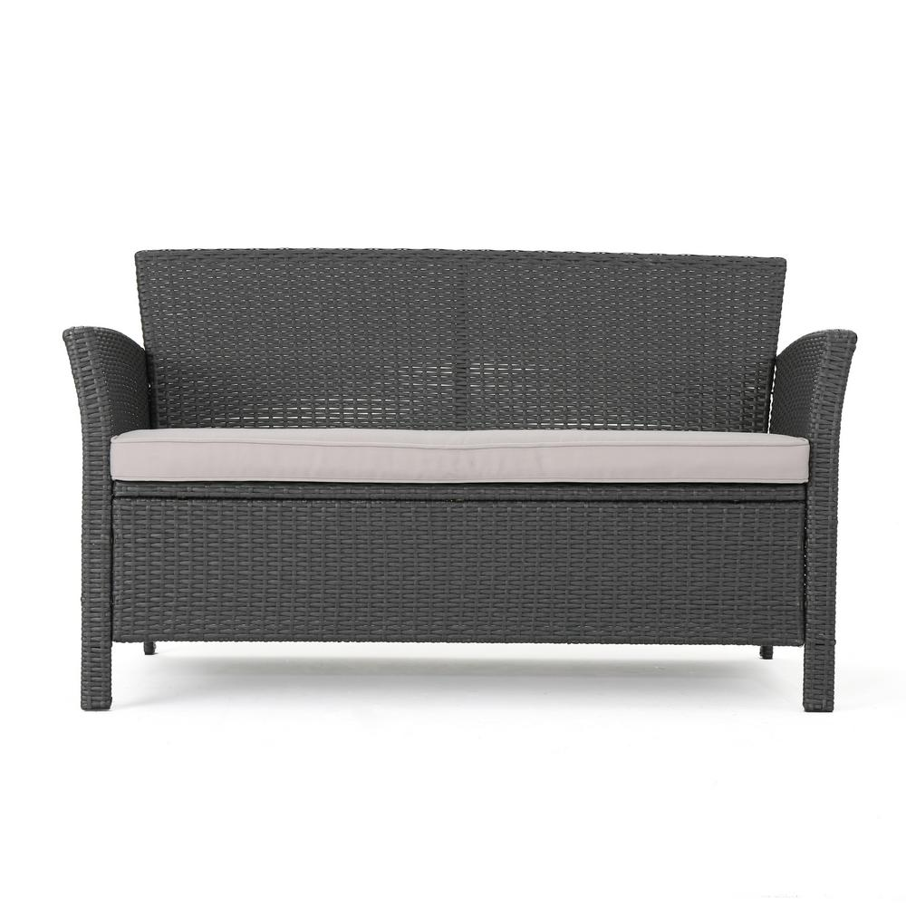 Noble House St. Lucia Gray Wicker Outdoor Loveseat with Silver Cushions