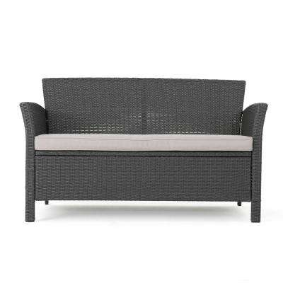 St. Lucia Gray Wicker Outdoor Loveseat with Silver Cushions