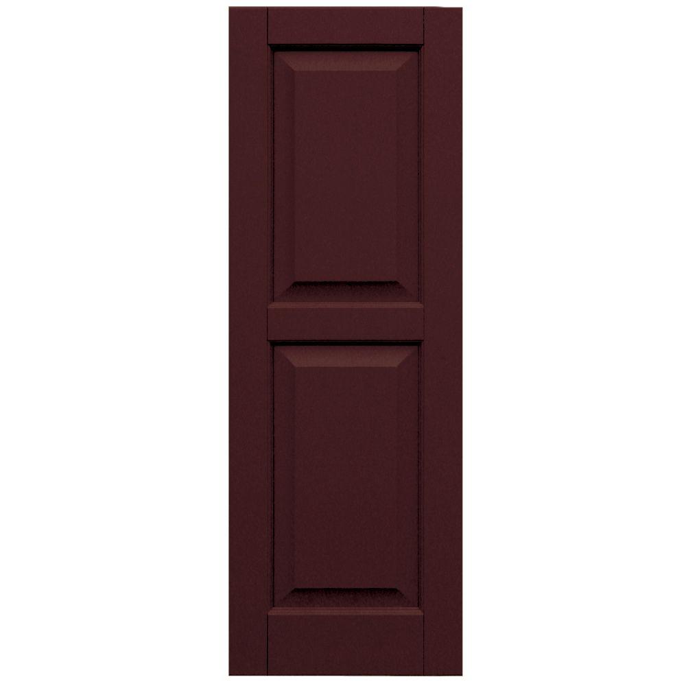 Winworks Wood Composite 15 in. x 43 in. Raised Panel Shutters Pair #657 Polished Mahogany