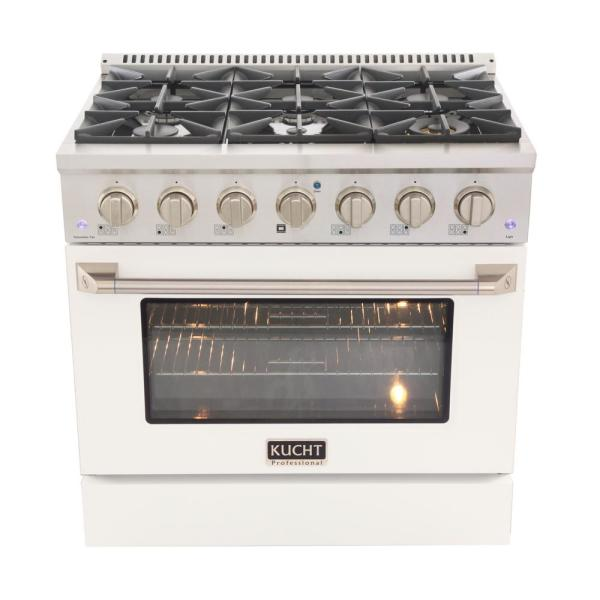 Pro-Style 36 in. 5.2 cu. ft. Propane Gas Range with Convection Oven in Stainless Steel and White Oven Door