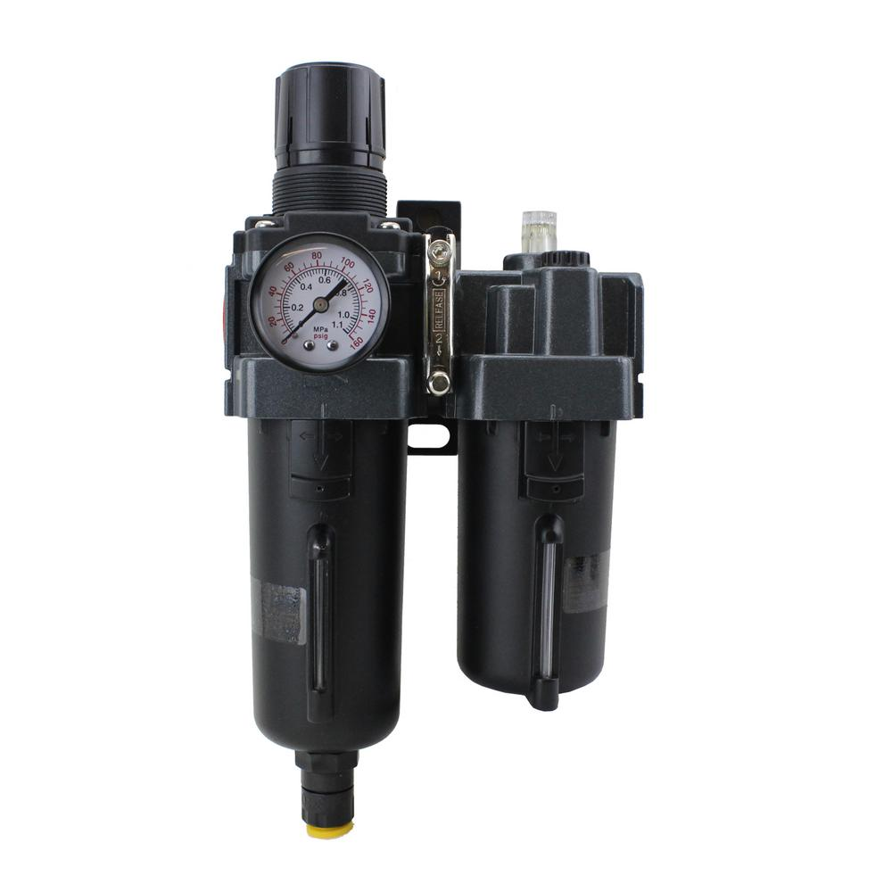1/2 in. NPT Metal FRL Air Filter Regulator with Lubricator