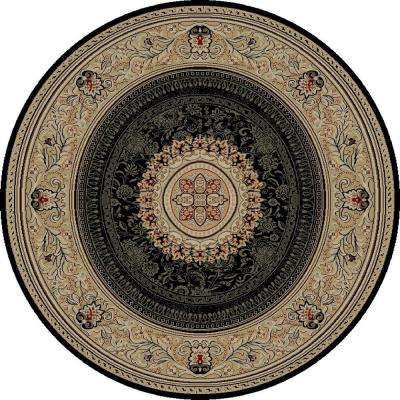 Ankara Chateau Black 8 ft. Round Area Rug