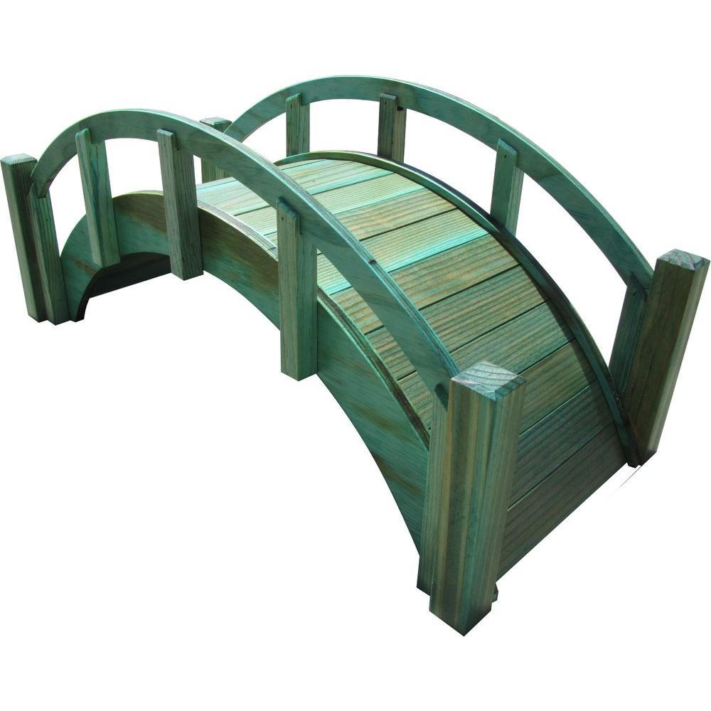 SamsGazebos 25 in. Miniature Japanese Wood Garden Bridge - Treated ...