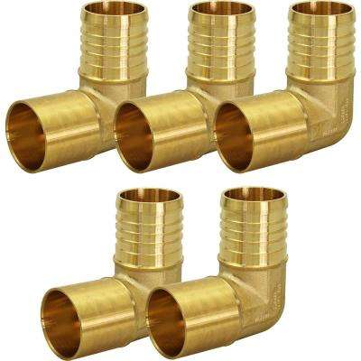 5/8 in. Brass Male Sweat x 3/4 in. Pex Barb 90-Degree Elbow Pipe Fitting (5-Pack)