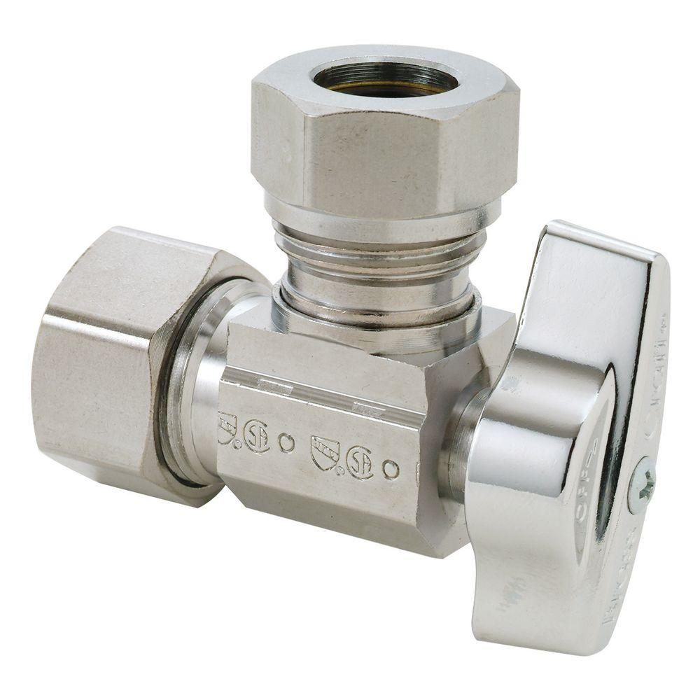 nominal compression inlet x 716 in and 12 in od slipjoint outlet brass 14turn angle ball valve cm the home depot