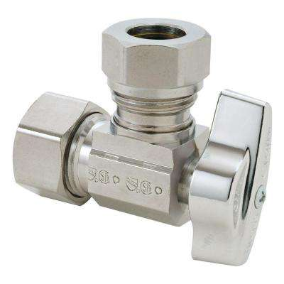 1/2 in. Nominal Compression Inlet x 7/16 in. and 1/2 in. O.D. Slip-Joint Outlet Brass 1/4-Turn Angle Ball Valve (5-Pack)