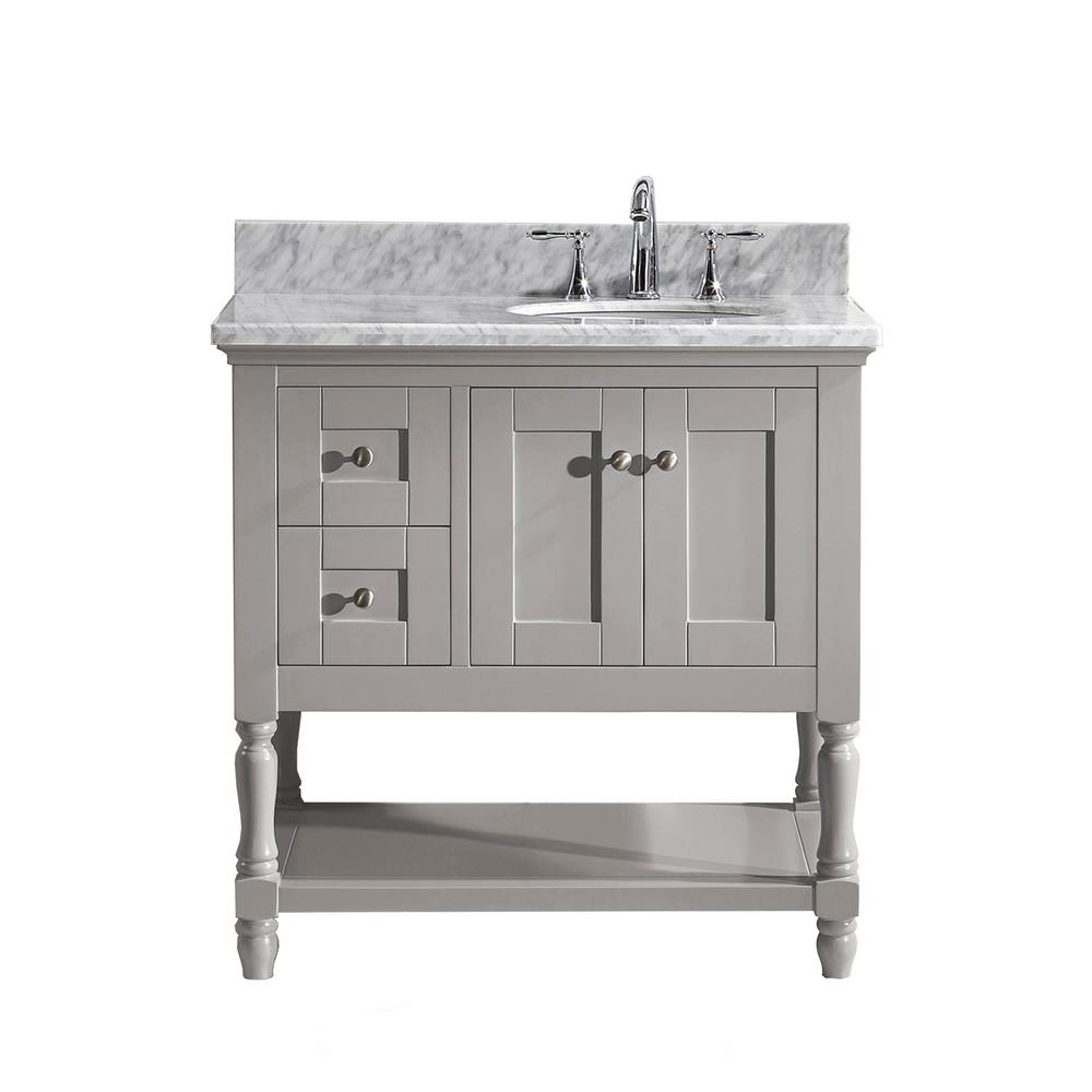 Virtu USA Julianna 36 in. W Bath Vanity in Gray with Marble Vanity Top in White with Round Basin