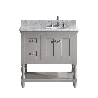 Julianna 36 in. W Bath Vanity in Gray with Marble Vanity Top in White with Round Basin