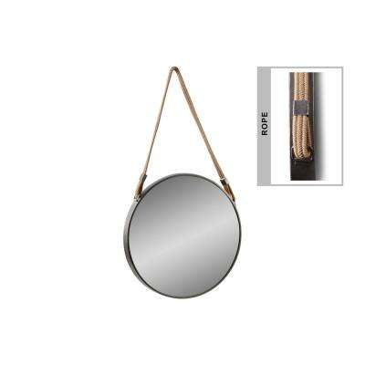 Round Black Tarnished Mirror