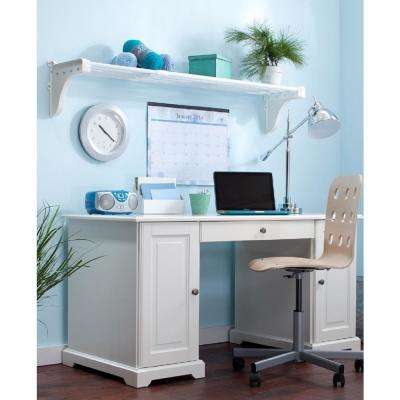 28 in. - 48 in. Metal Expandable Shelf in White with 2 End Brackets