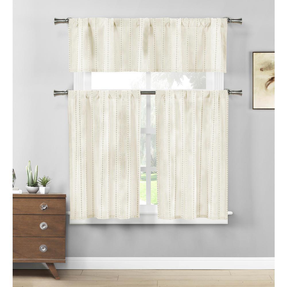 Kylie Linen-White Kitchen Curtain Set - 58 in. W x 15 in. L in (3-Piece)