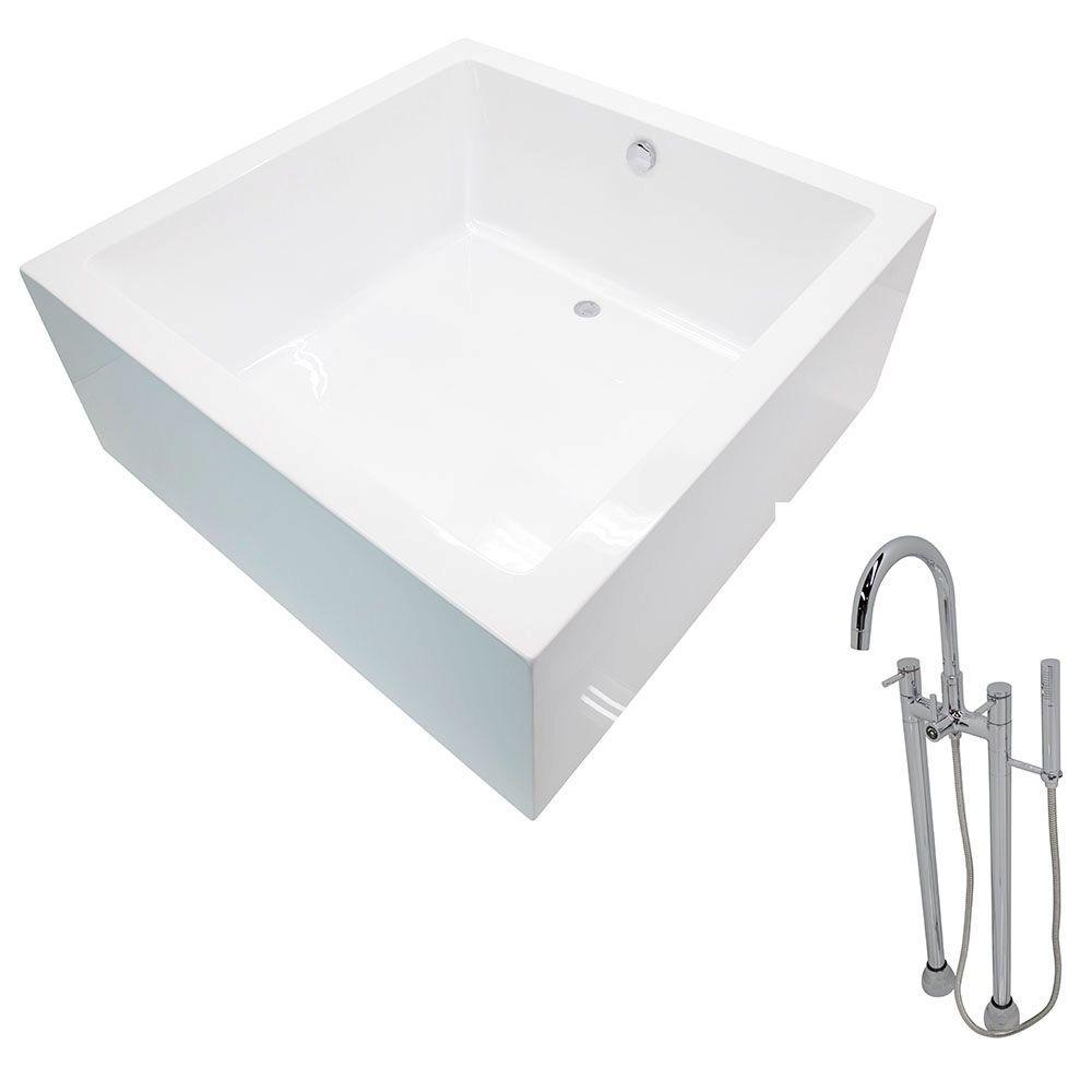 Perfect ANZZI Apollo 4.6 Ft. Acrylic Classic Freestanding Flatbottom Non Whirlpool  Bathtub In White And