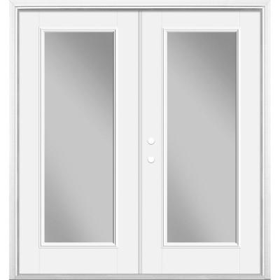 72 in. x 80 in. Primed White Fiberglass Prehung Right-Hand Inswing Full Lite Clear Glass Smooth Patio Door Brickmold