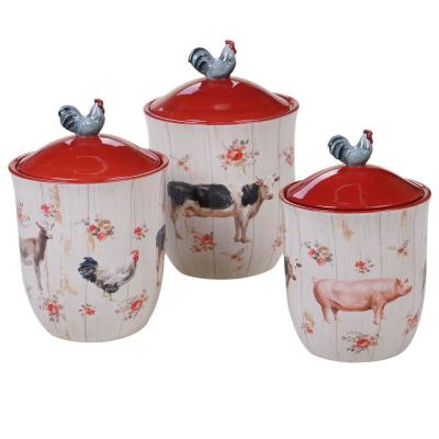 Farmhouse 3-Piece Country/Cottage Multi-Colored Ceramic 54, 72, 104 oz. Canister Set