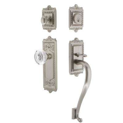 Egg and Dart Plate 2-3/8 in. Backset Satin Nickel S Grip Handleset Crystal Egg and Dart Door Knob