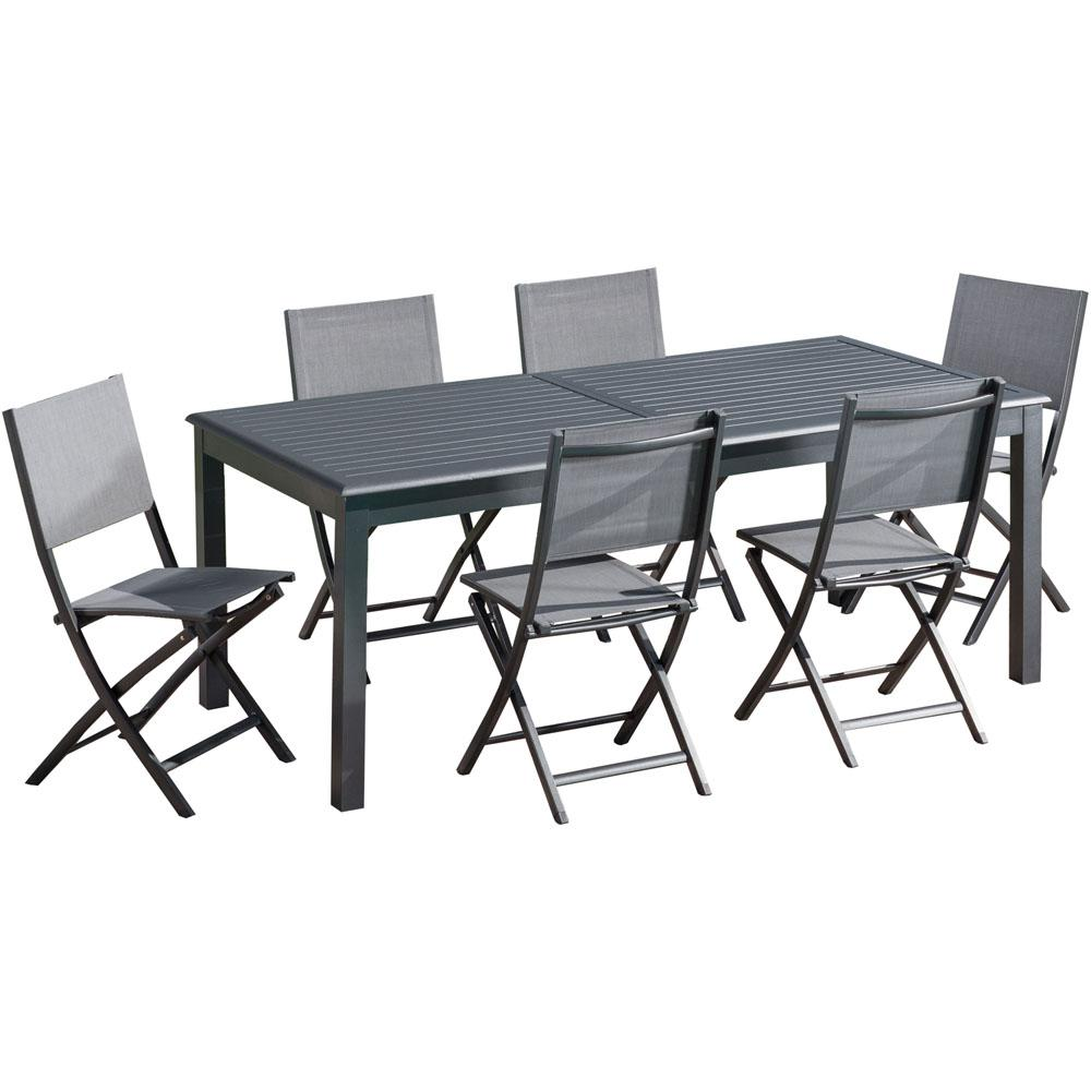 Marvelous Hanover Dawson 7 Piece Aluminum Outdoor Dining Set With 6 Folding Sling Chairs And An Expandable 40 In X 118 In Table Frankydiablos Diy Chair Ideas Frankydiabloscom