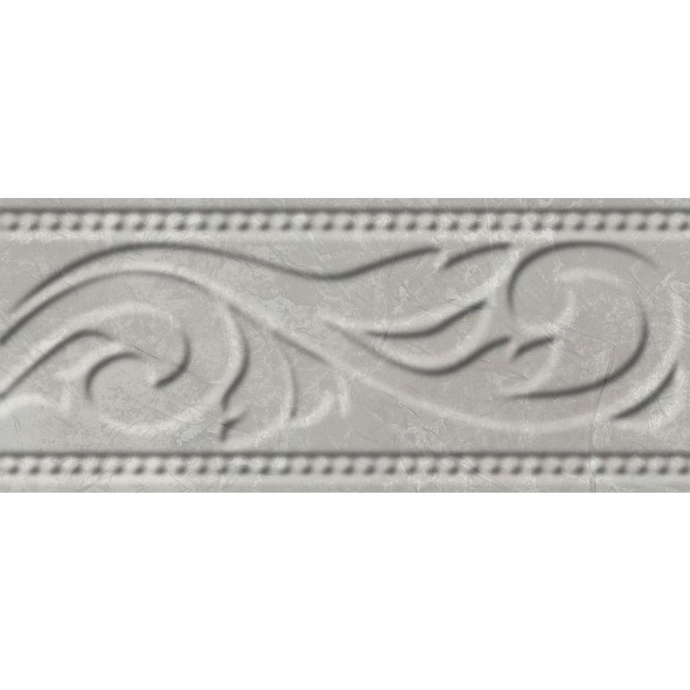 Delray L-1 White 3 in. x 8 in. Ceramic Listello Wall Tile