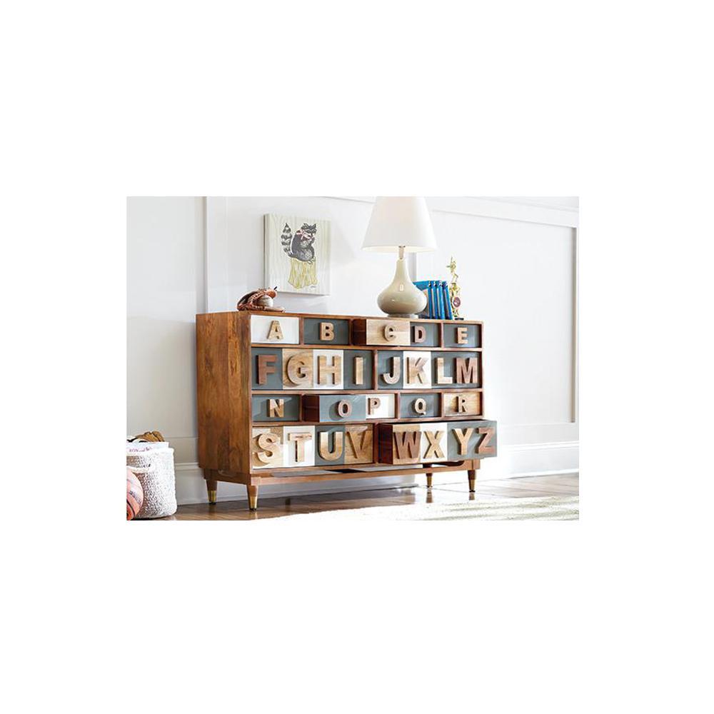 Alphabet 14-Drawer Natural White and Grey Dresser