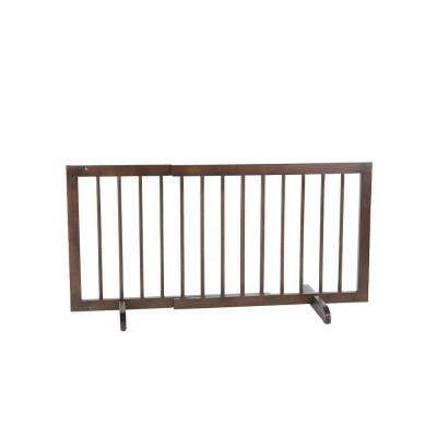 20 in. H x 28 in. to 51.75 in. W x 2 in. D Walnut Step Over Gate