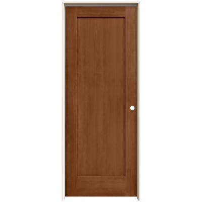 24 in. x 80 in. Madison Hazelnut Stain Left-Hand Solid Core Molded Composite MDF Single Prehung Interior Door