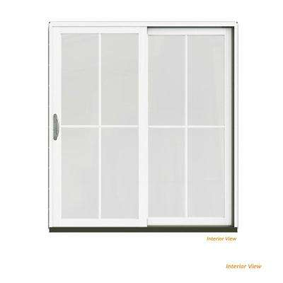 72 in. x 80 in. W-2500 Contemporary Black Clad Wood Right-Hand 4 Lite Sliding Patio Door w/White Paint Interior